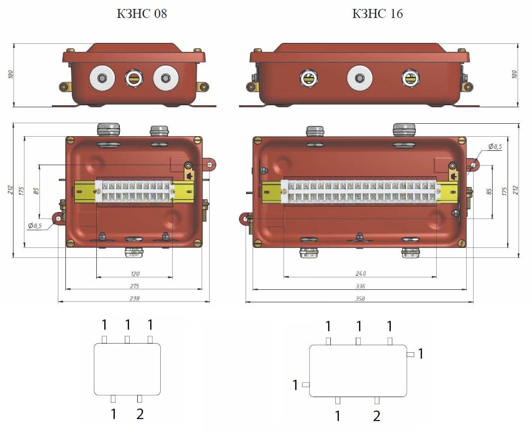 Коробка КЗНС-08, КЗНС-16